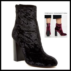 FRENCH CONNECTION BLACK CRUSHED VELVET ANKLE BOOTS